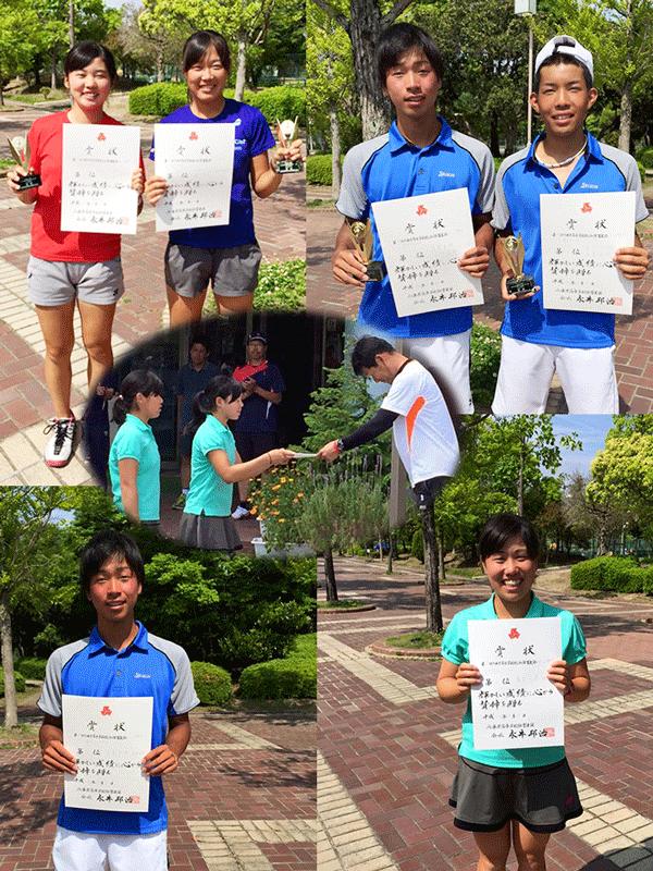 テニス・高校総体県予選ダブルスアベック優勝
