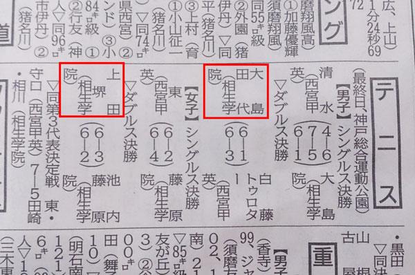 テニス 県予選・決勝の結果が新聞に掲載されました